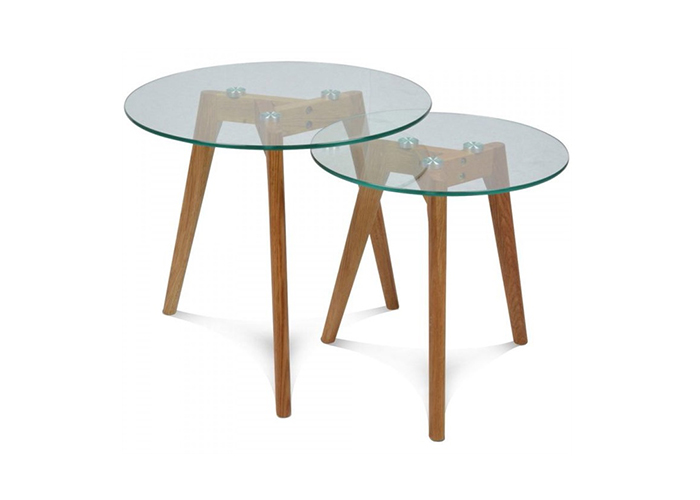 Mesas auxiliares de cristal 2 mesas nido la mesa de centro - Mesas auxiliares de cristal ...